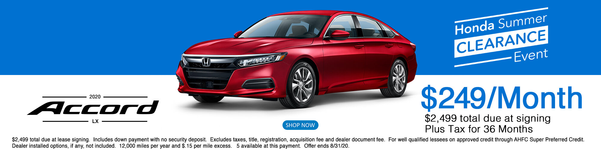 2020 Honda Accord LX Lease Offer