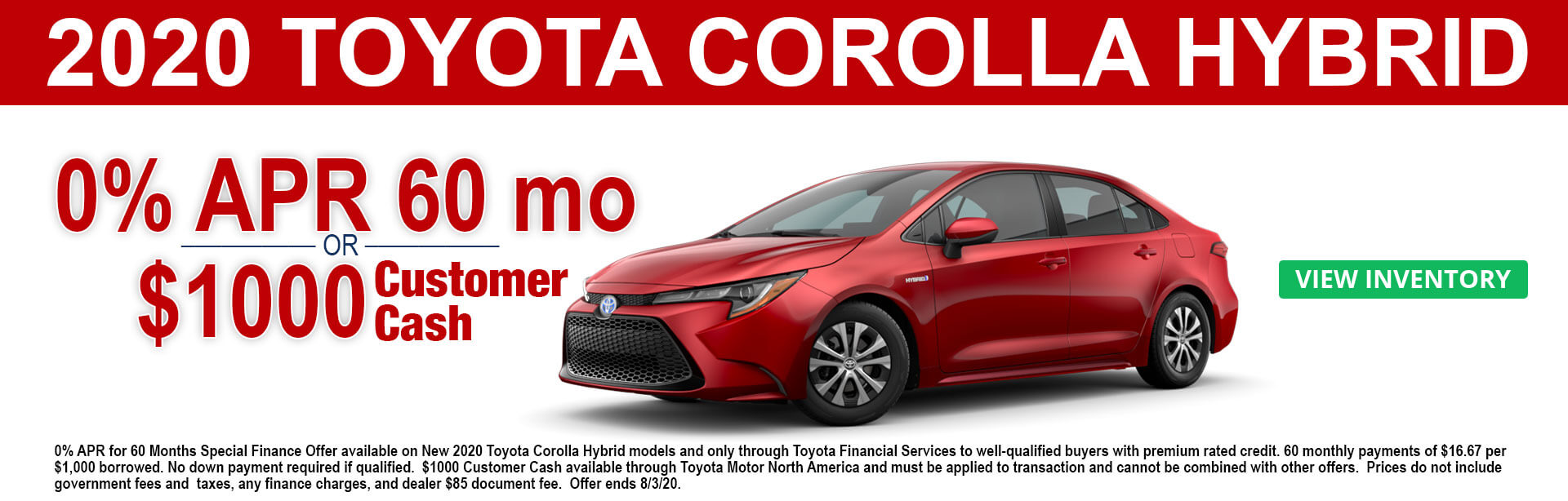 2020 Toyota Corolla Hybrid Cash and APR offers