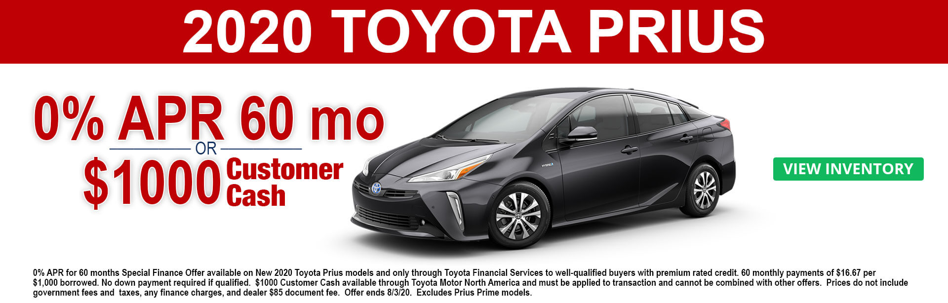 2020 Prius APR and Customer Cash Offers