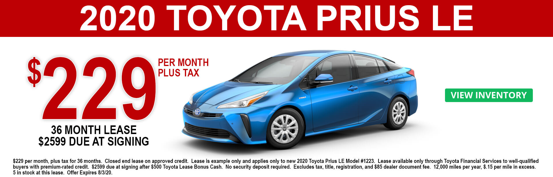2020 Toyota Prius LE Lease offer $229 a month