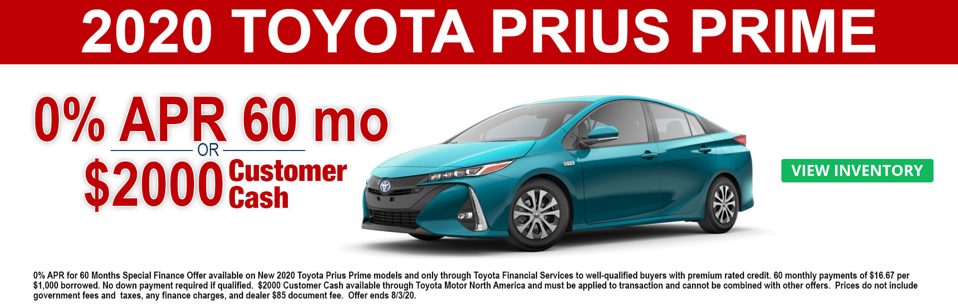 2020 Toyota Prius Prime Cash and APR offers