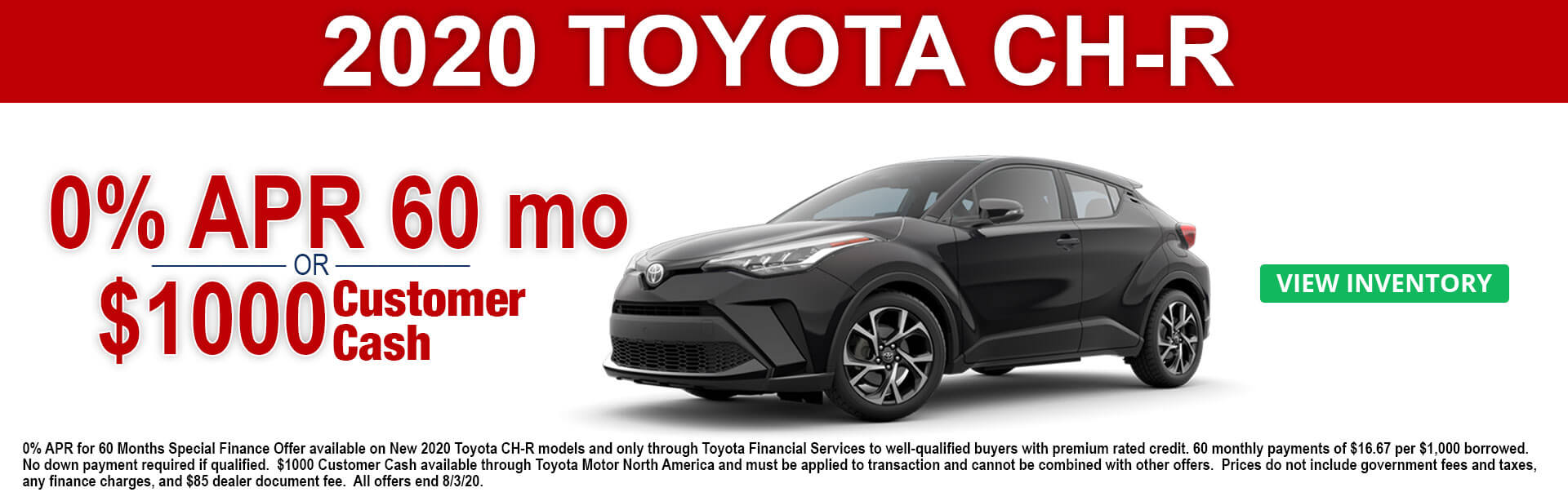 2020 Toyota CH-R Cash and APR offer
