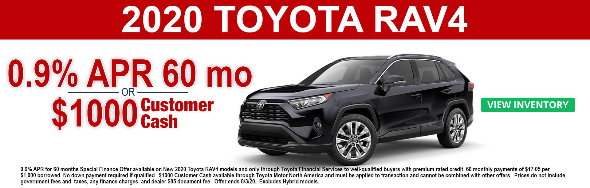2020 Toyota RAV4 APR and Cash Offer