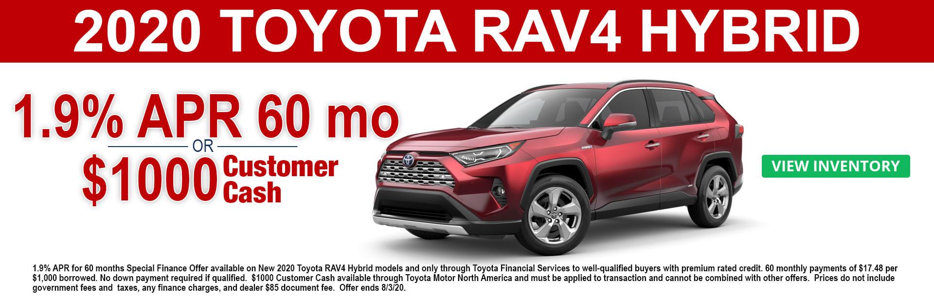 2020 Toyota RAV-4 Hybrid Cash and APR offer