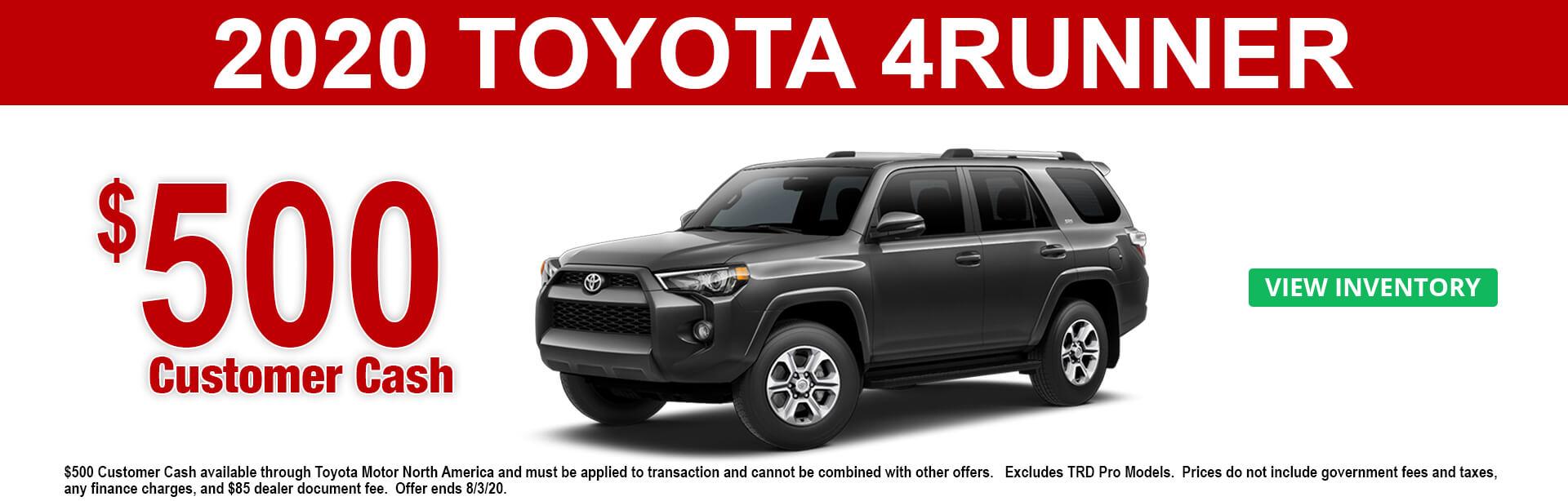 2020 Toyota 4Runner Customer Cash Offer