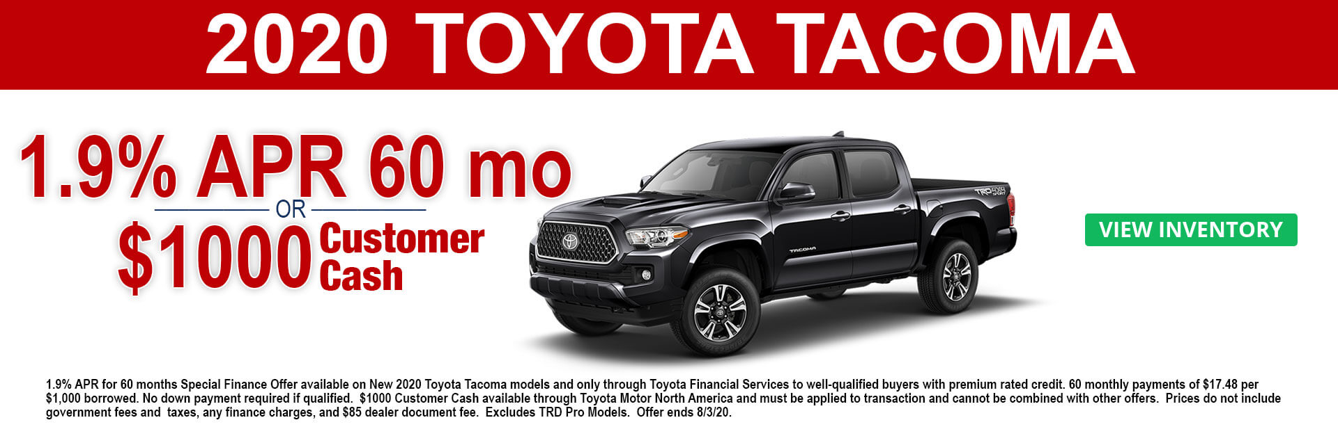 2020 Toyota Tacoma Cash and APR Offer