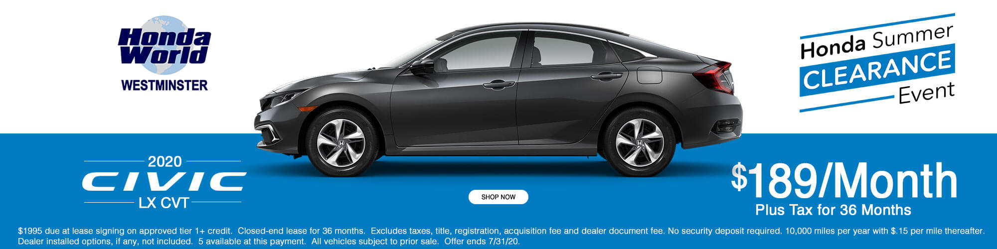 2020 Honda Civic LX Lease Offer $189 a month