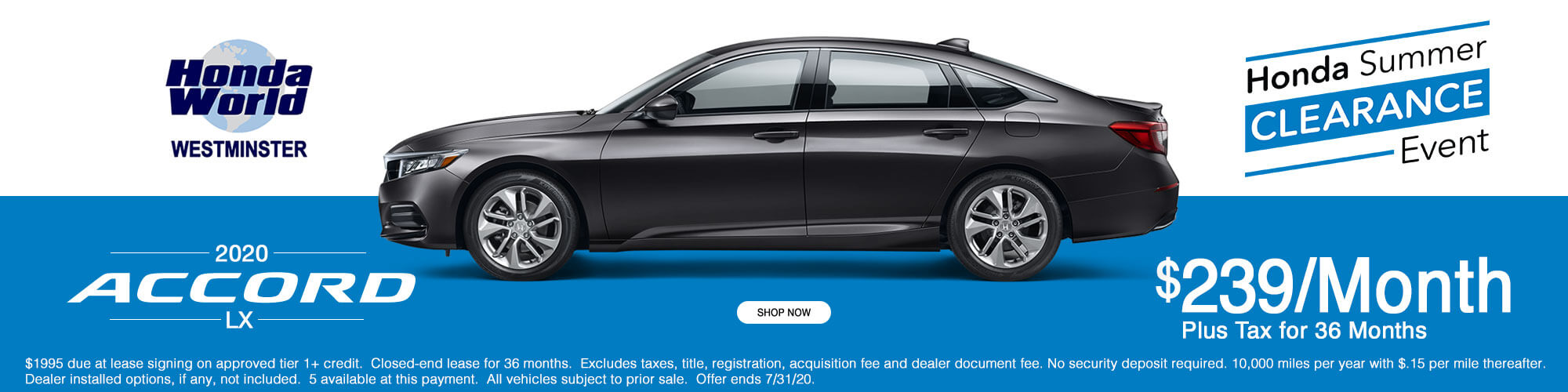 2020 Honda Accord LX Lease Offer $239 a month