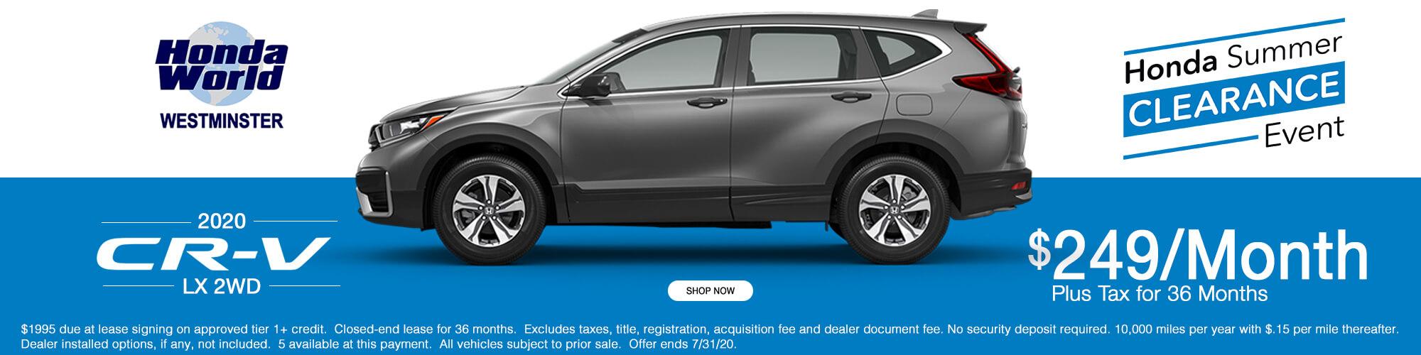 2020 Honda CR-V LX Lease Offer $249 a month