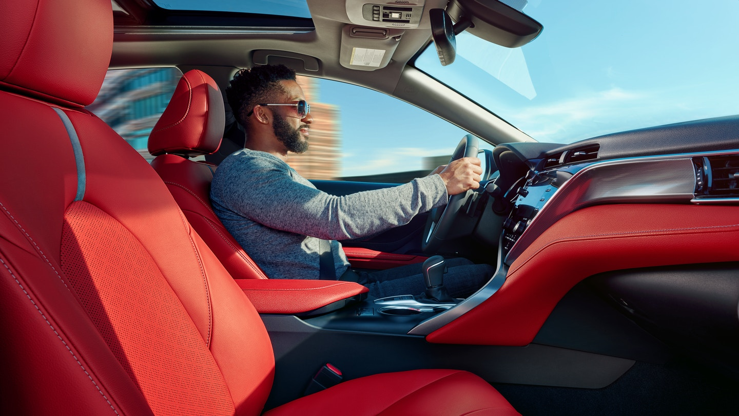 2020 Toyota Camry Cockpit Red Leather-Trimmed Seats