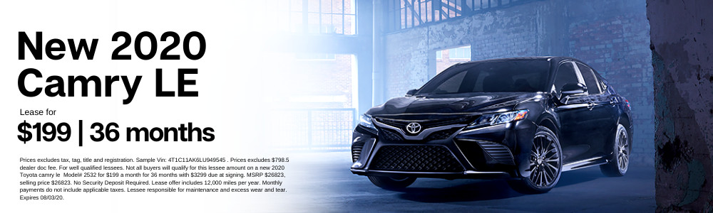 Prices excludes tax, tag, title and registration. Sample Vin: 4T1C11AK6LU949545 . Prices excludes $798.5 dealer doc fee. For well qualified lessees. Not all buyers will qualify for this lessee amount on a new 2020 Toyota camry le  Model# 2532 for $199 a month for 36 months with $3299 due at signing. MSRP $26823, selling price $26823. No Security Deposit Required. Lease offer includes 12,000 miles per year. Monthly payments do not include applicable taxes. Lessee responsible for maintenance and excess wear and tear. Expires 08/03/20.