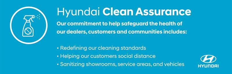 Hyundai Clean Assurance logo, white font on a blue background