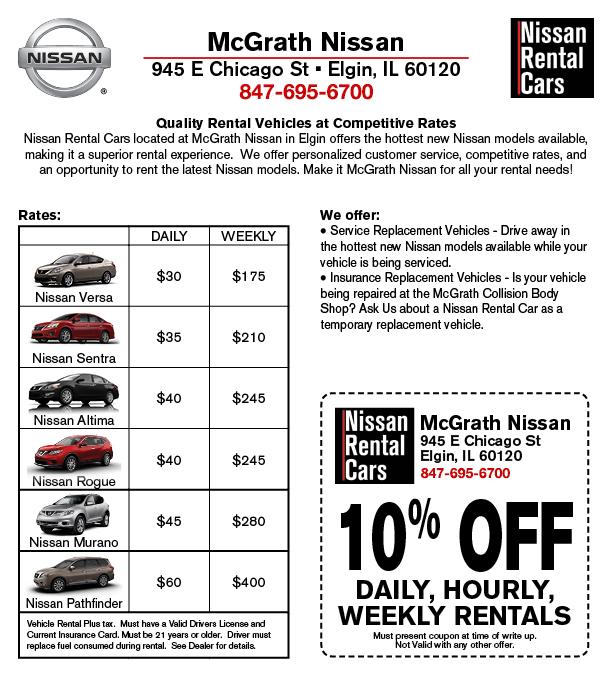 Nissan Rental Cars - Elgin Loaner Vehicles | McGrath Nissan