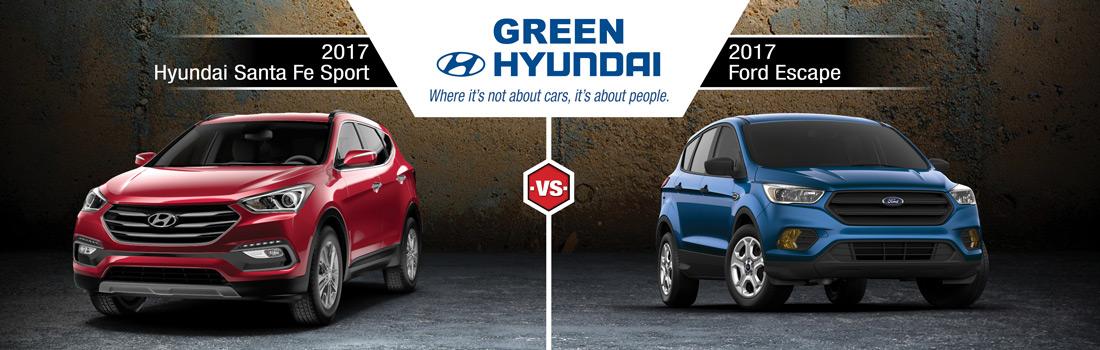 Santa Fe Ford >> 2017 Hyundai Santa Fe Sport Vs 2017 Ford Escape In
