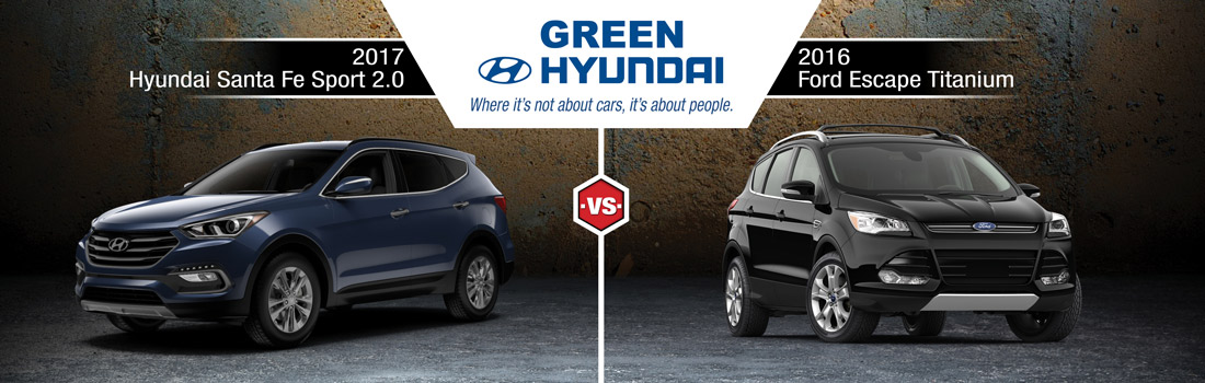Santa Fe Ford >> 2017 Hyundai Santa Fe Sport Vs 2016 Ford Escape In