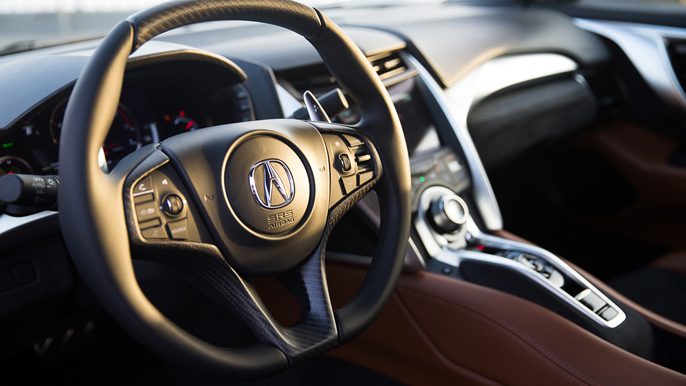 2017 Acura NSX Oblong-shaped, Leather-wrapped Steering Wheel