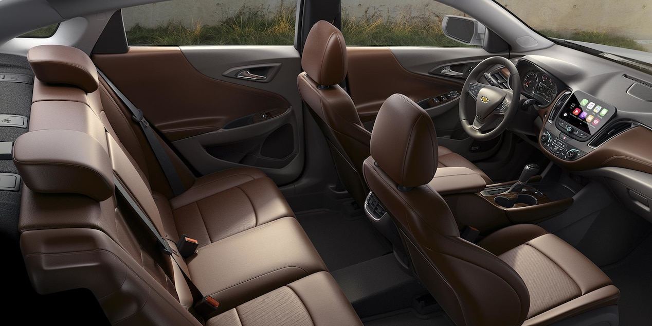 2017 Chevy Malibu Interior with Dark Atmosphere/Loft Brown Leather-Trimmed Upholstery and Optional Features
