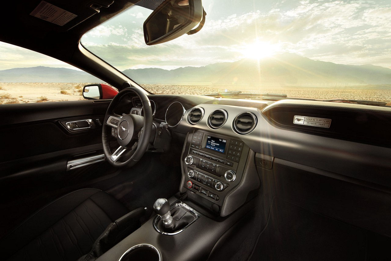 2017 ford mustang ecoboost fastback interior in ebony