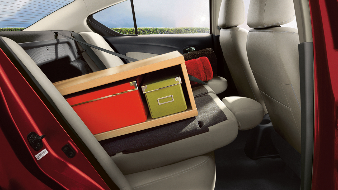 The Versa Includes a 60/40 Split Fold-down Rear Seat for Additional Storage.