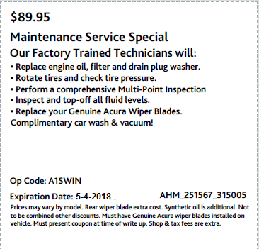 Maintenance Service Special  : $89.95 : Maintenance Special  : Only at Acura of Maui