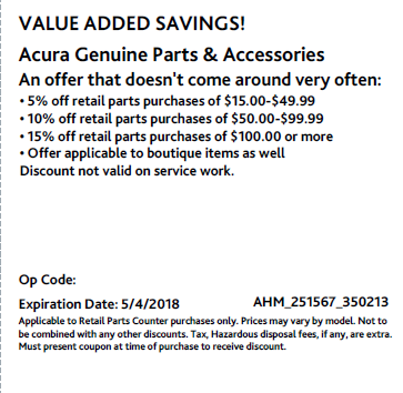 Acura Genuine Parts  : up to 15% Off  : Parts  : Only at Acura of Maui