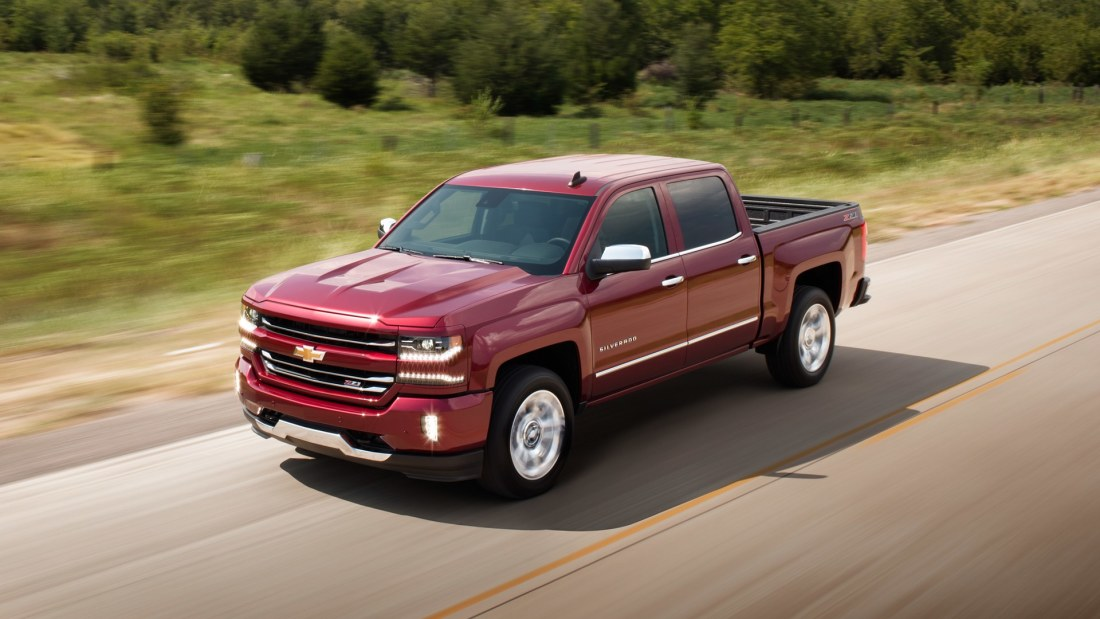 2018 Red Silverado 1500 Racing down the road