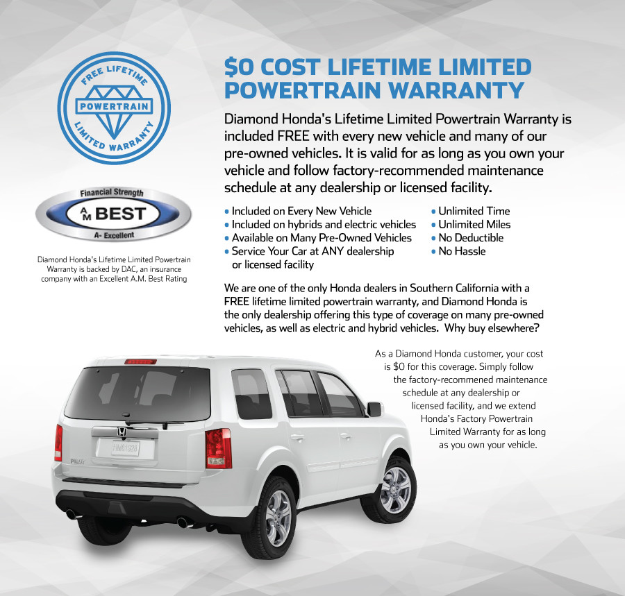 Powertrain Warranty Coverage >> Free Lifetime Limited Powertrain Warranty Diamond Honda