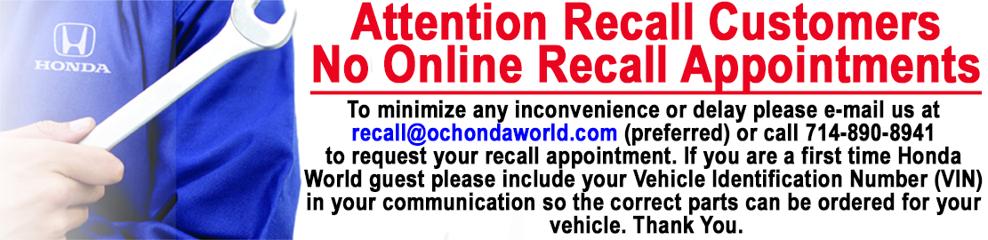 Attention Recall customers, email us at recall@ochondaworld.com or call 7148908941 for an appointment