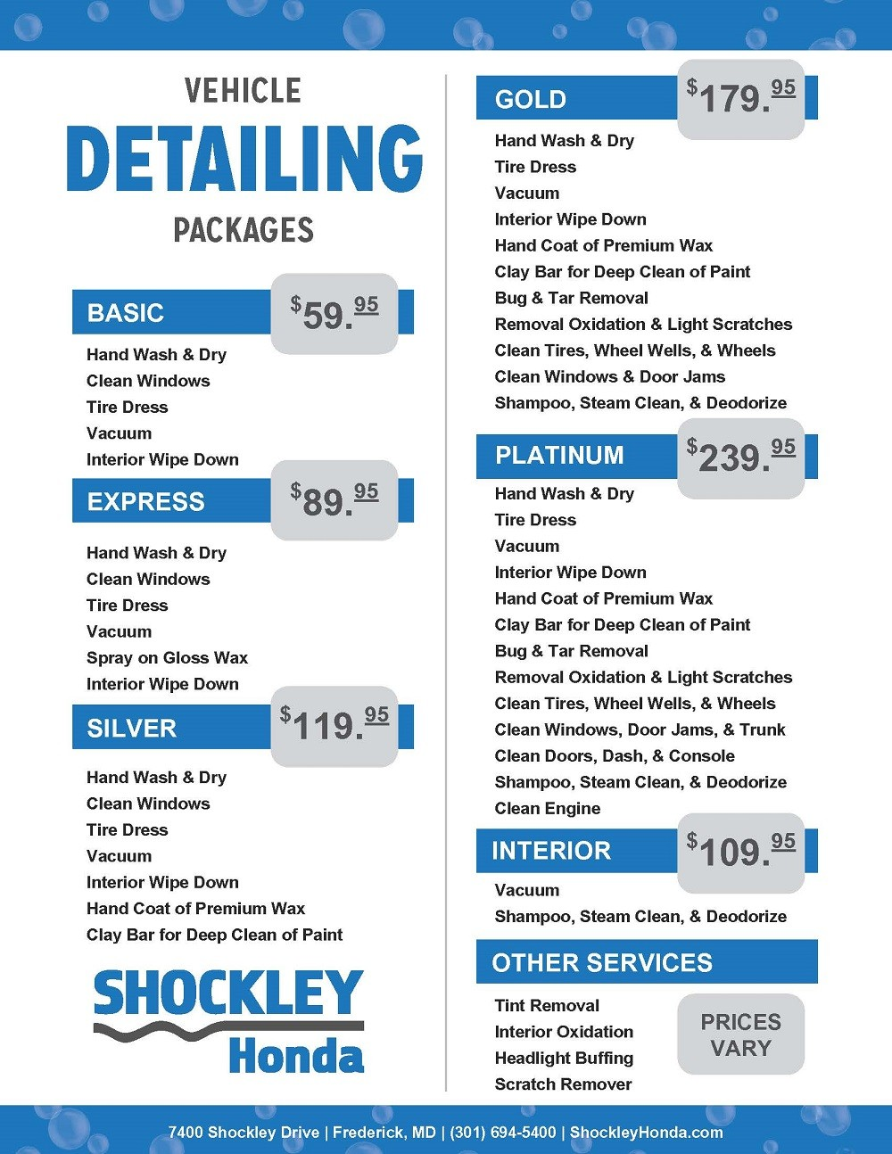 Vehicle Detailing Packages
