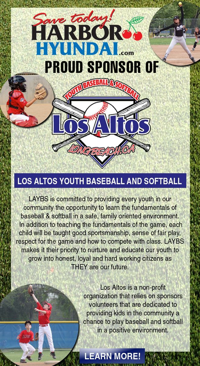 Harbor Hyundai proud sponsor of Los Altos Youth Baseball and Softball