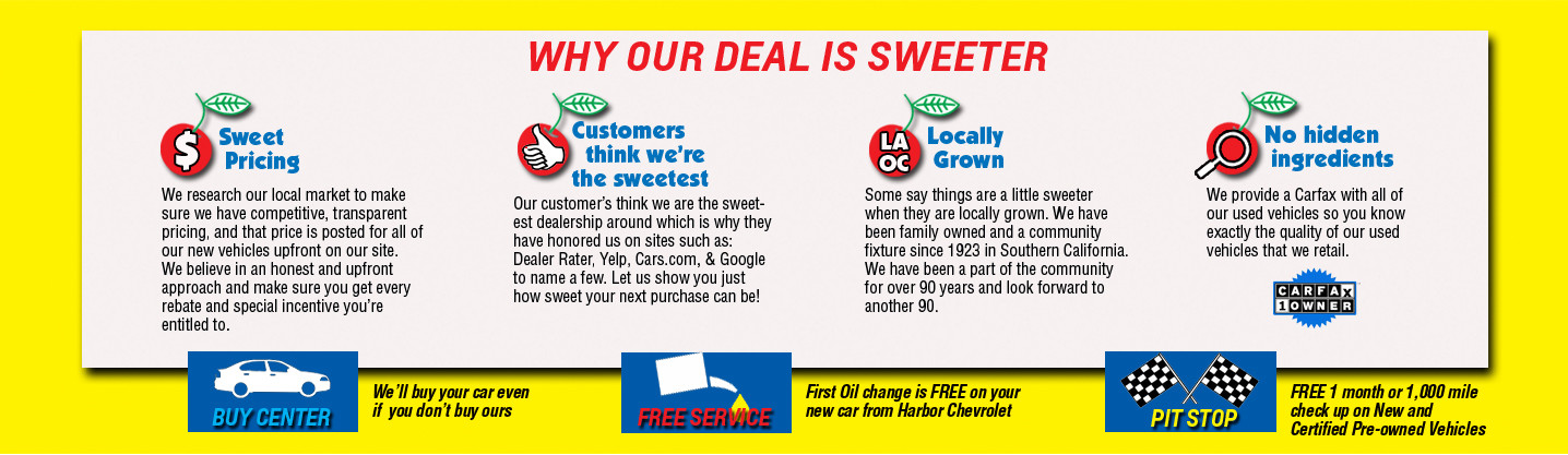 Our Deal is sweeter, Sweet Pricing, Customer Satisfaction, Local Business, and Carfax reports
