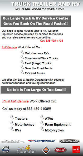 Commercial, Semi Truck, Trailer, RV and Camper Service Repair