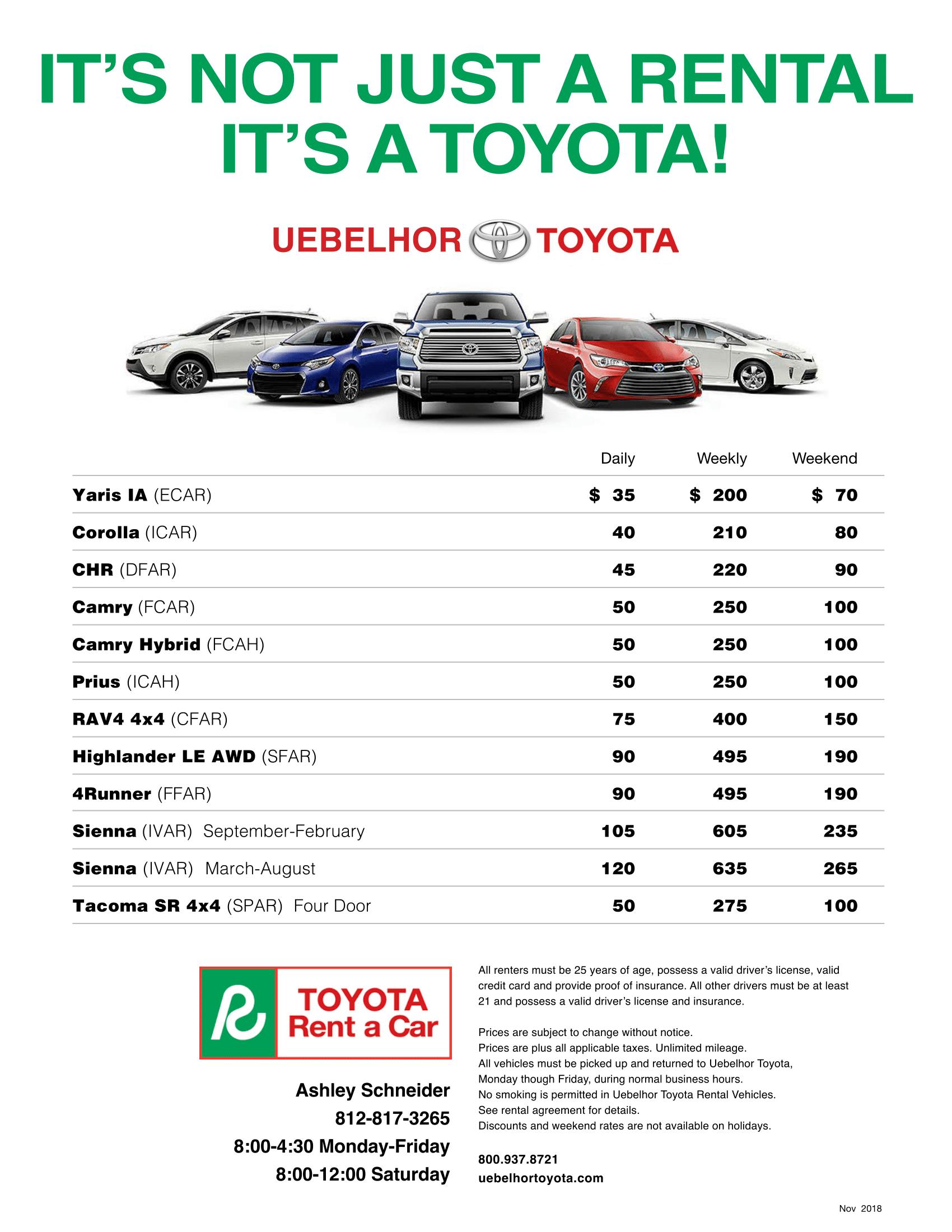 Rent a Toyota from Uebelhor Toyota in Jasper, IN