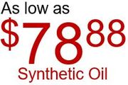 synthetic oil change for $78.88 + Tax