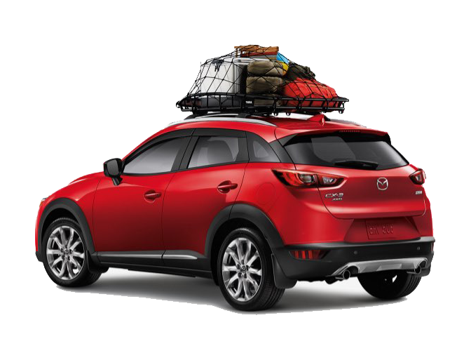 Red Mazda CX-3 with a full roof-rack on the top