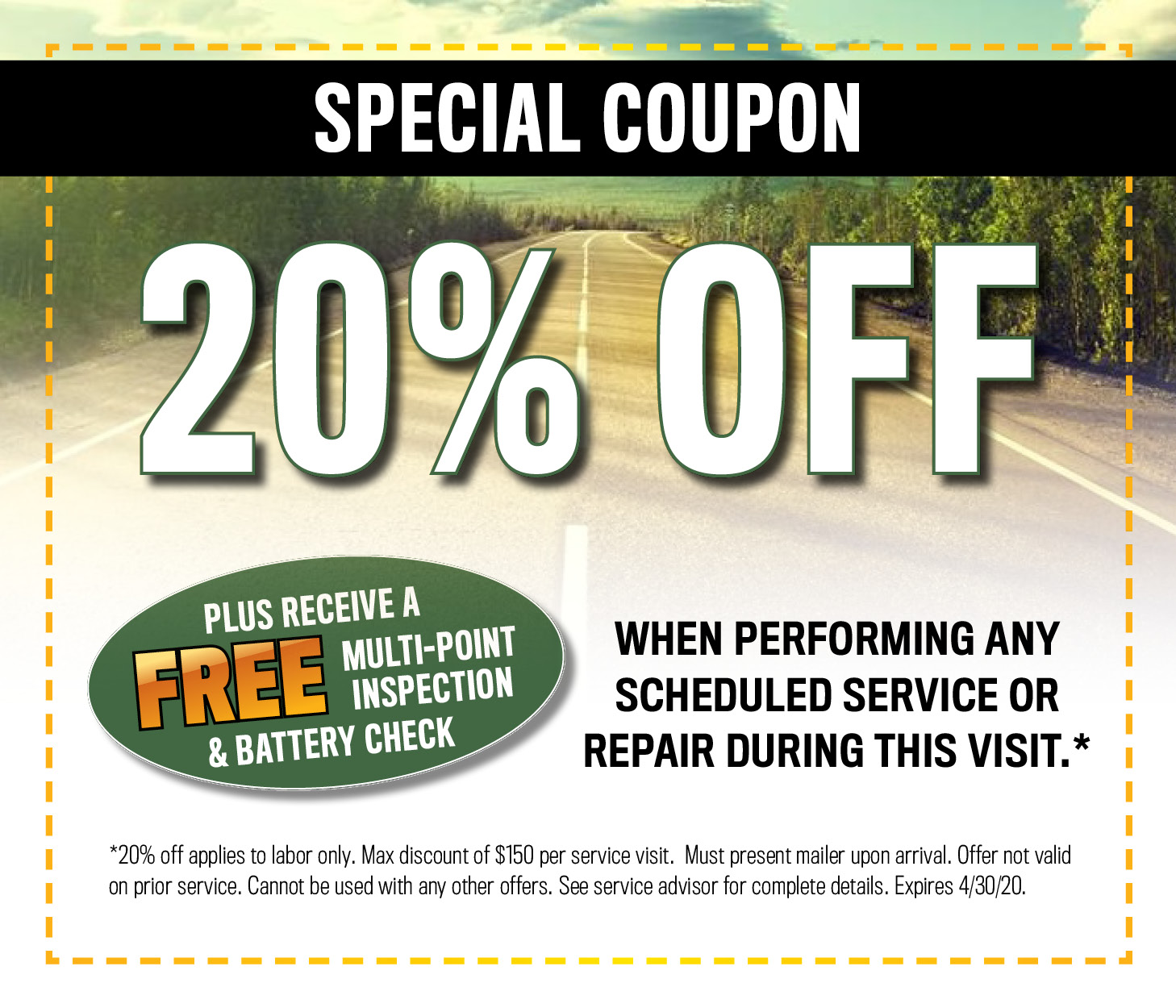Service Department Coupons, Specials