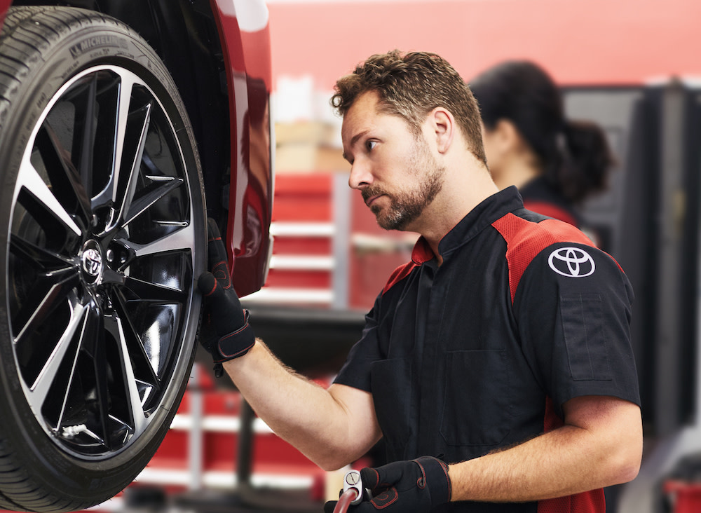 How to check your tires' health at Tri County Toyota of Royersford | Toyota Technician checking car tire