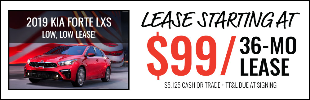 Lease a 2019 Kia Forte LXS Starting at $99/Month