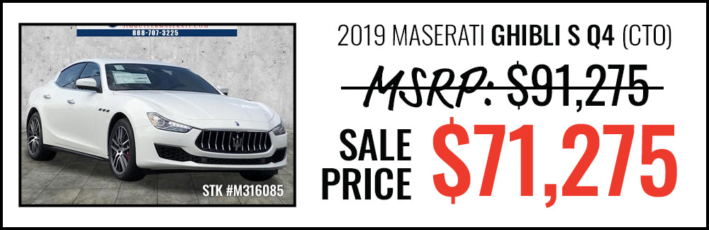 2019 Maserati Ghibli S Q4 Starting at $71,275