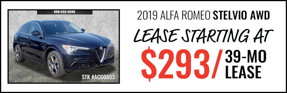 2019 Alfa Romeo Stelvio AWD Lease Starting at $293/39-Mo Lease