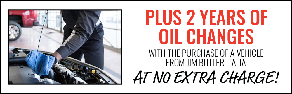 2 Years of Oil Changes at No Extra Charge with the Purchase of a Vehicle at Jim Butler Italia