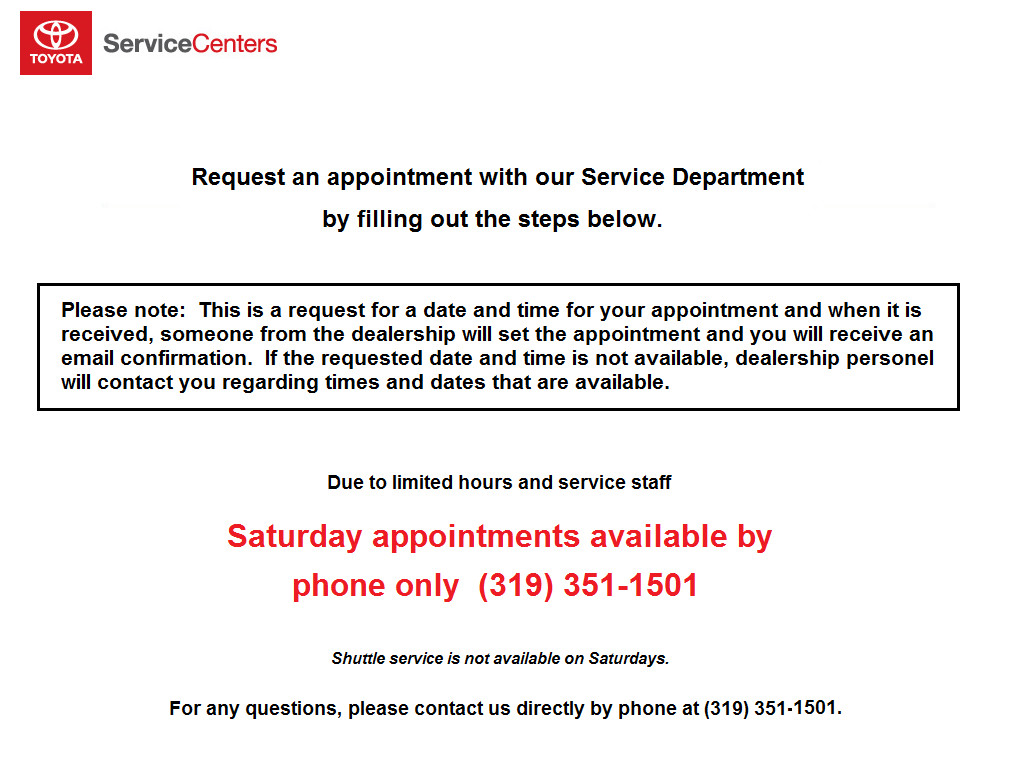 Toyota Service Appointment >> Virtual Service Appointment Toyota Of Iowa City