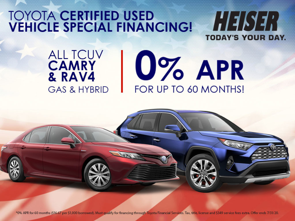 0% APR for up to 60 Months on All TCUV RAV4 & Camry Gas & Hybrid