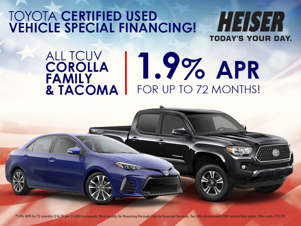 1.9% APR for up to 72 Months on All TCUV Corolla Family & Tacoma