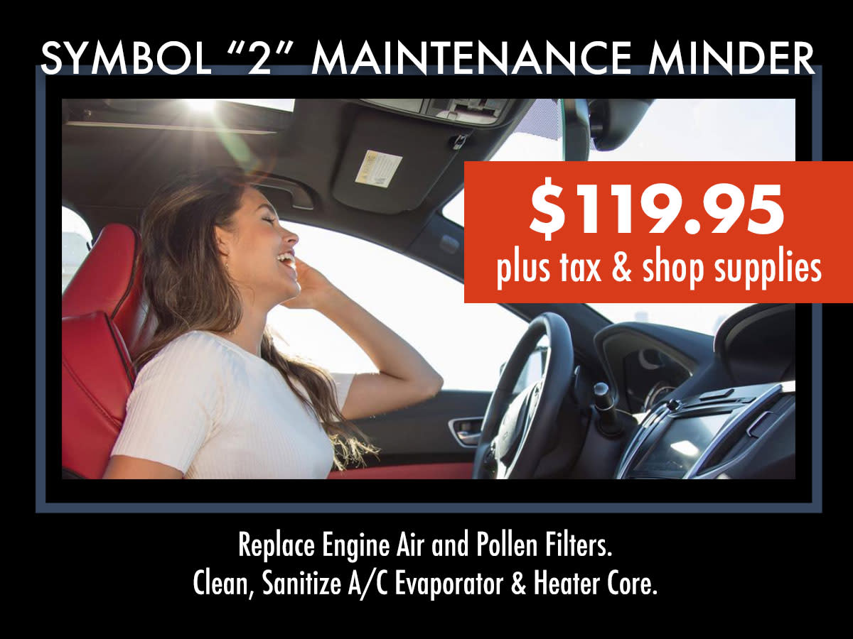 Acura Symbol 2 Maintenance Minder Service Coupon