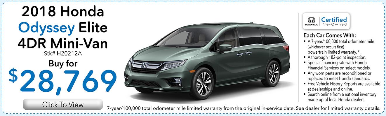 2018 Honda Odyssey Dealer Specials