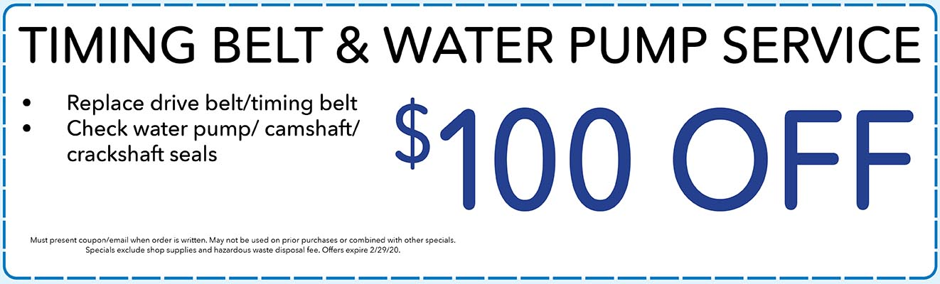 $100 Off Timing Belt & Water Pump Service