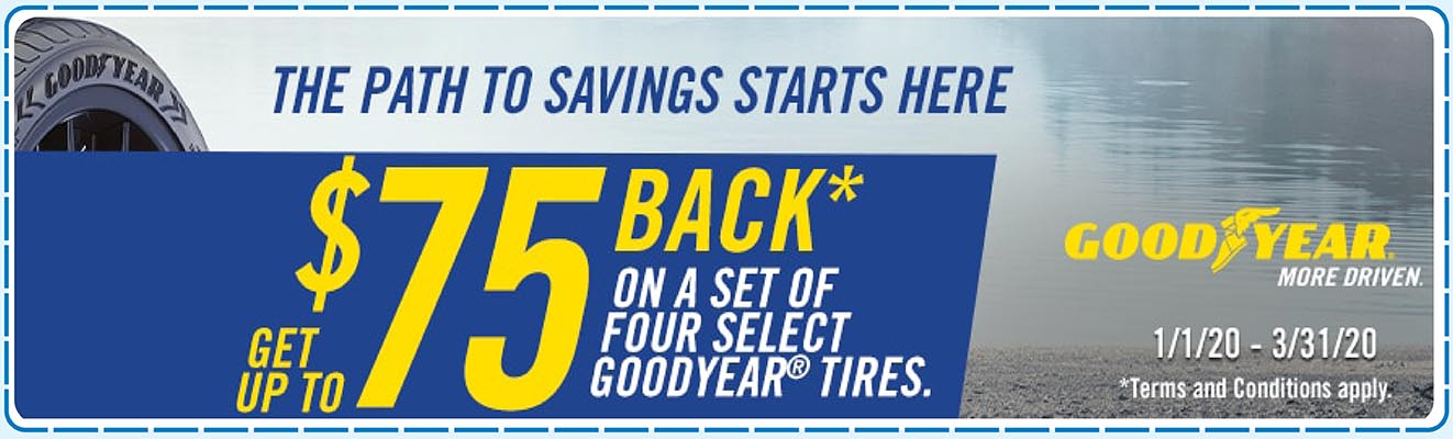 $75 on Four Select Goodyear Tires