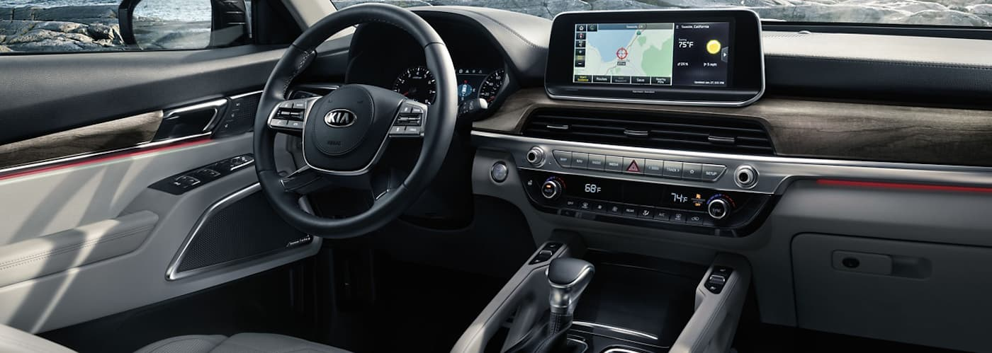 An interior view of the 2020 Kia Telluride is shown.
