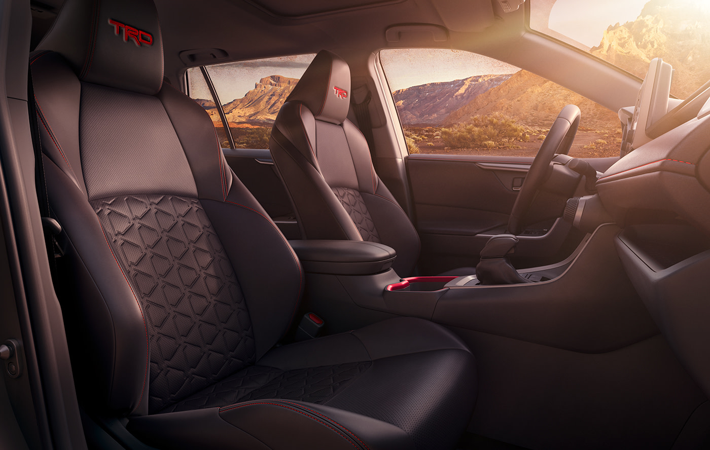 Compare the 2020 Toyota RAV4 vs. the Honda CR-V crossovers at Tri County Toyota | the interior of the 2020 rav4